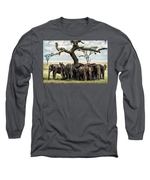 Herd Of Elephants Under A Tree In Serengeti Long Sleeve T-Shirt