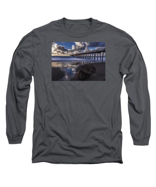Hermosa Beach Pier Long Sleeve T-Shirt by Ed Clark