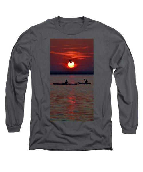 Heron And Kayakers Sunset Long Sleeve T-Shirt