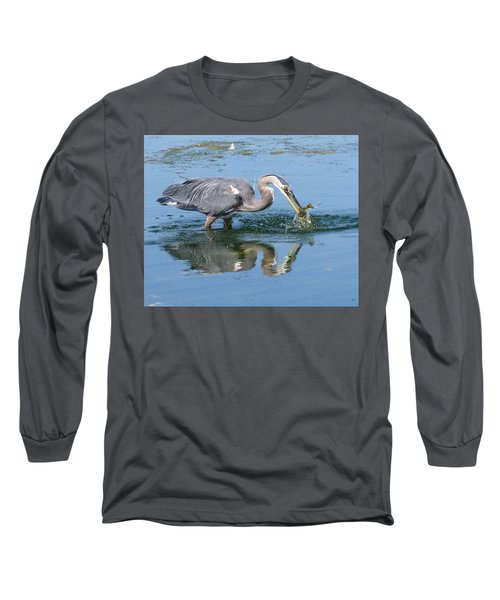 Great Blue Heron Catches A Fish Long Sleeve T-Shirt by Keith Boone