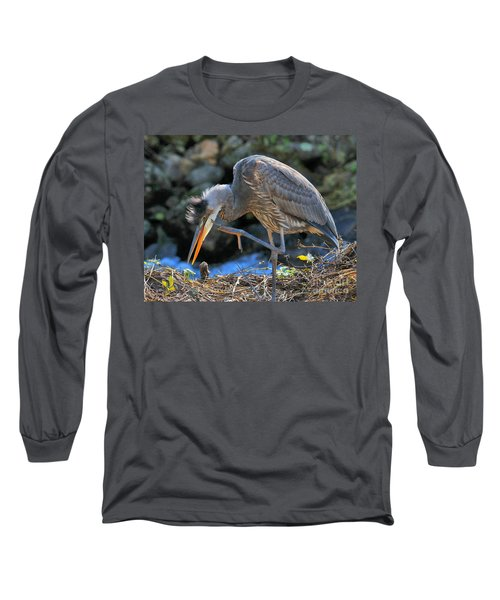 Long Sleeve T-Shirt featuring the photograph Heron Scratch by Debbie Stahre