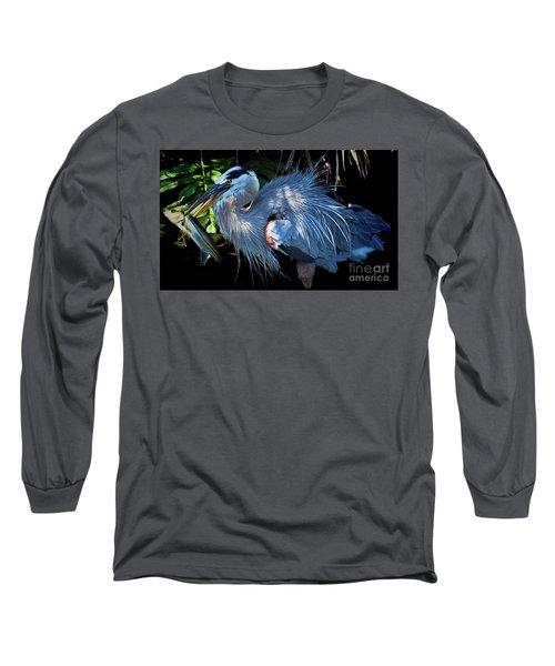 Heron's Lunch Long Sleeve T-Shirt by Pamela Blizzard