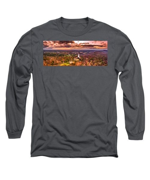 Heublein Tower, Simsbury Connecticut, Cloudy Sunset Long Sleeve T-Shirt