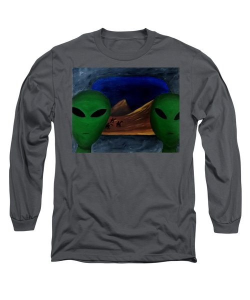 Hey Bob, I Think They Are Following Us.. Long Sleeve T-Shirt by Lola Connelly
