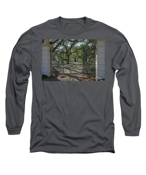 Long Sleeve T-Shirt featuring the photograph Heyman House Gates 1 by Gregory Daley  PPSA