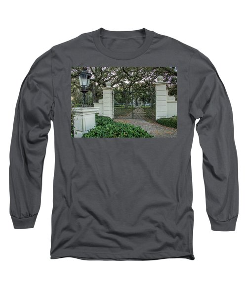 Long Sleeve T-Shirt featuring the photograph Heyman House Gates by Gregory Daley  PPSA
