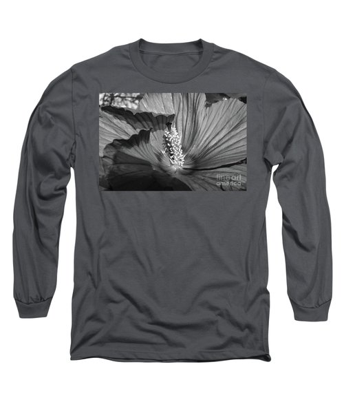 Hibiscus Black And White Long Sleeve T-Shirt