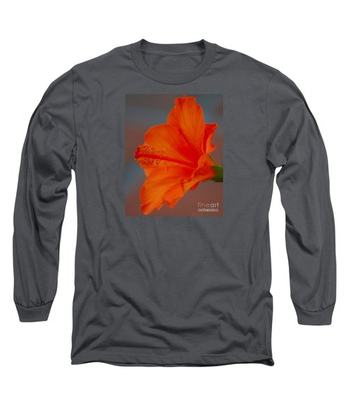 Hot Orange Hibiscus Long Sleeve T-Shirt