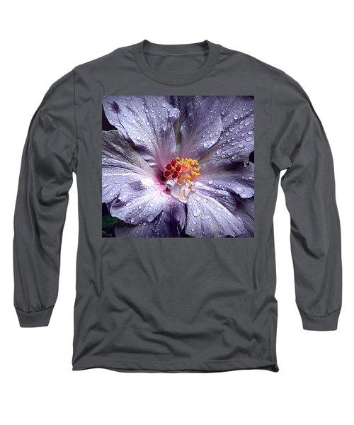 Hibiscus In The Rain Long Sleeve T-Shirt by Lori Seaman