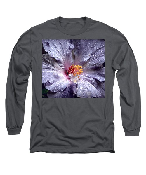 Hibiscus In The Rain Long Sleeve T-Shirt
