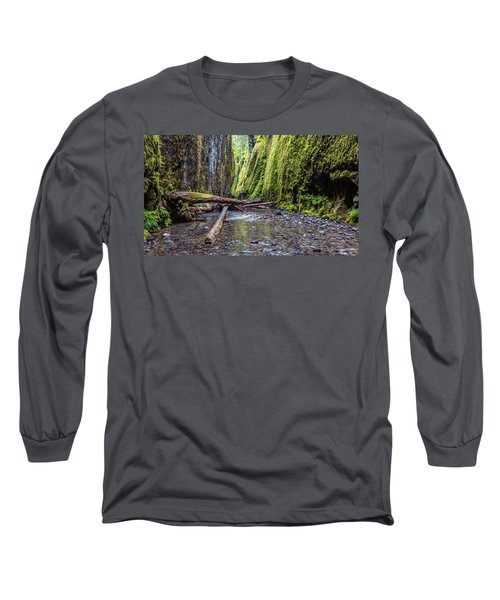 Hiking Oneonta Gorge Long Sleeve T-Shirt by Pierre Leclerc Photography