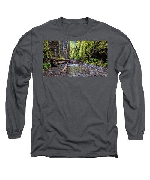 Hiking Oneonta Gorge Long Sleeve T-Shirt