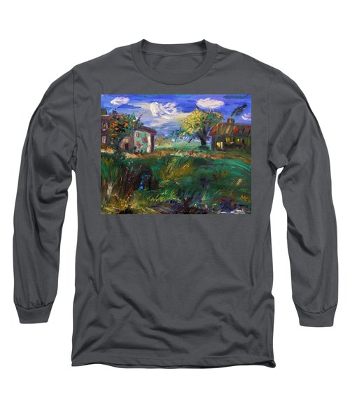 Long Sleeve T-Shirt featuring the painting Hillside Tranquility by Mary Carol Williams