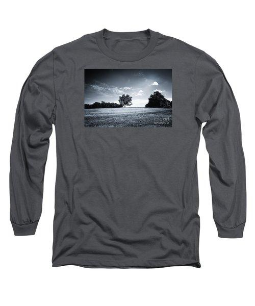 Hilly Black White Landscape Long Sleeve T-Shirt