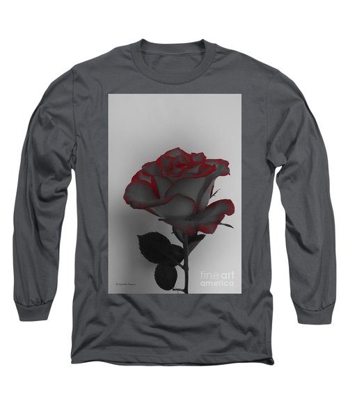Hints Of Red- Single Rose Long Sleeve T-Shirt