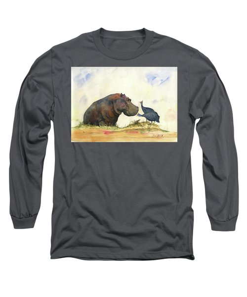 Hippo With Guinea Fowls Long Sleeve T-Shirt