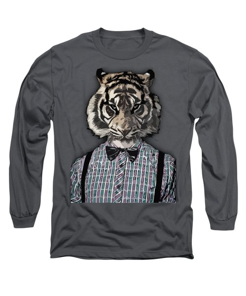 Hipster Tiger  Plaid Shirt Vintage Dictionary Art Beatnik Art Long Sleeve T-Shirt