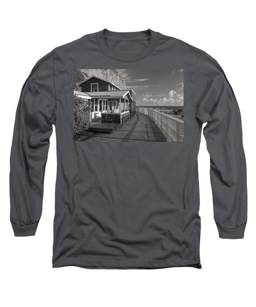 Historic Cottage  Crystal Cove Black And White Long Sleeve T-Shirt