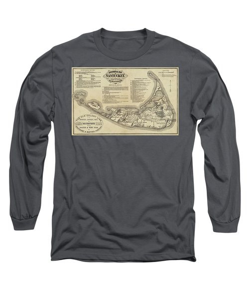 Historical Map Of Nantucket From 1602-1886 Long Sleeve T-Shirt