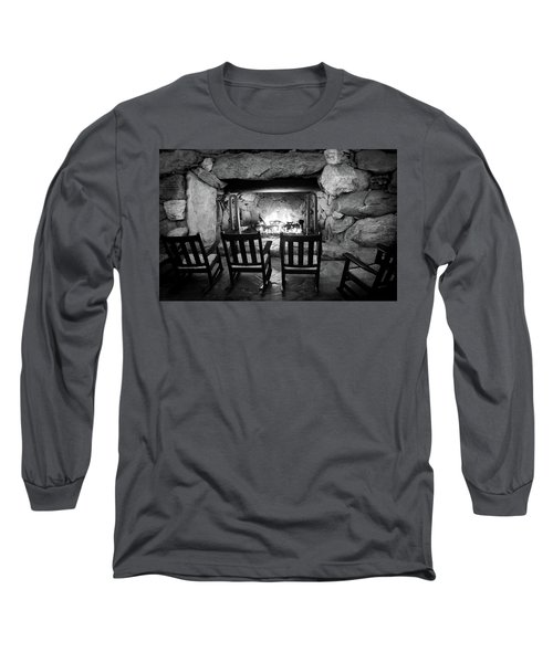 Long Sleeve T-Shirt featuring the photograph Winter Warmth In Black And White by Karen Wiles