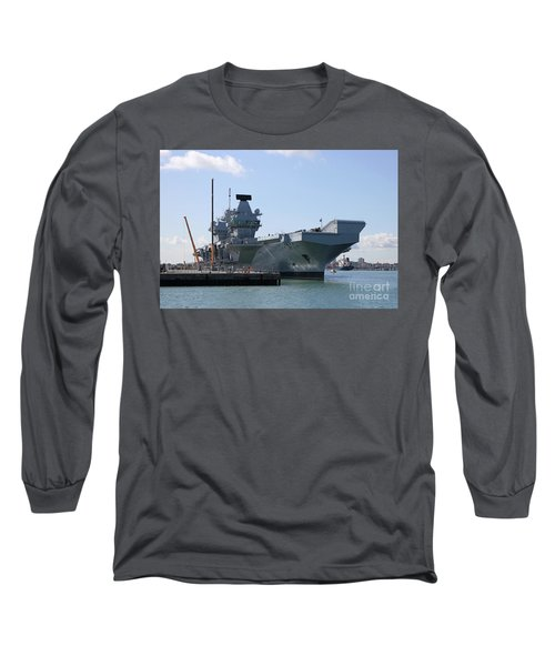 Hms Queen Elizabeth Aircraft Carrier At Portmouth Harbour Long Sleeve T-Shirt