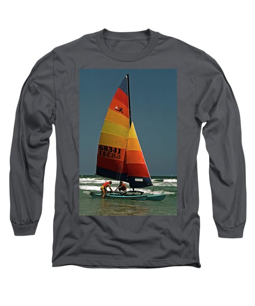 Long Sleeve T-Shirt featuring the photograph Hobie Cat In Surf by Sally Weigand
