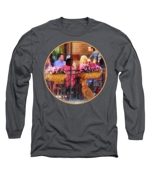 Hoboken Nj - Dog Waiting By Cafe Long Sleeve T-Shirt