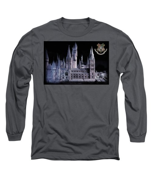Long Sleeve T-Shirt featuring the mixed media Hogwards School  by Gina Dsgn