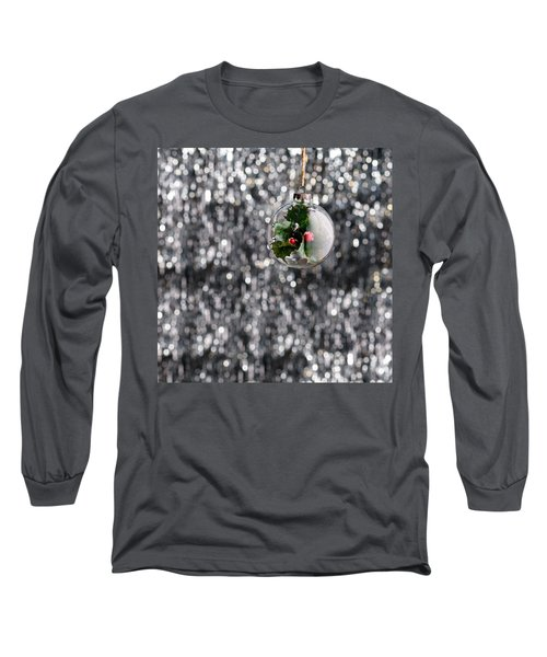 Long Sleeve T-Shirt featuring the photograph Holly Christmas Bauble  by Ulrich Schade