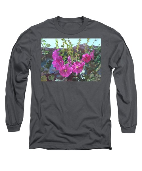 Long Sleeve T-Shirt featuring the painting Hollyhock Necklace by Jane Autry