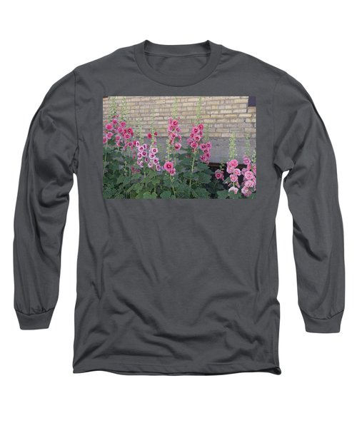 Hollyhocks Long Sleeve T-Shirt by Cynthia Powell