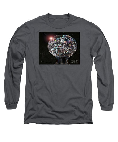 Long Sleeve T-Shirt featuring the photograph Hollywood Dreaming - Oblong Globe by Cheryl Del Toro