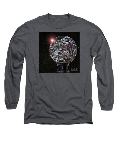 Long Sleeve T-Shirt featuring the photograph Hollywood Dreaming - Square Globe by Cheryl Del Toro