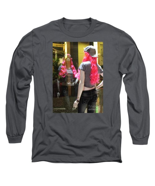 Hollywood Pink Hair In Window Long Sleeve T-Shirt by Cheryl Del Toro