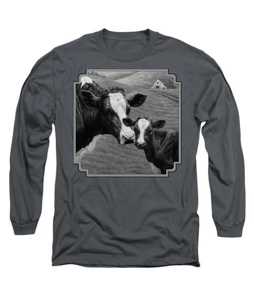 Holstein Cow Farm Black And White Long Sleeve T-Shirt by Crista Forest