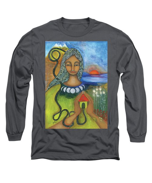 Long Sleeve T-Shirt featuring the mixed media Home Is Where Your Heart Is by Prerna Poojara