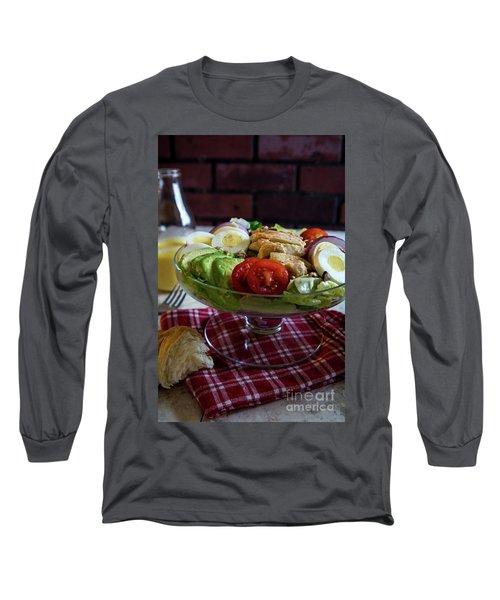 Long Sleeve T-Shirt featuring the photograph Honey Mustard Chicken Cobb Salad 2 by Deborah Klubertanz