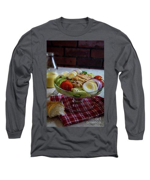 Long Sleeve T-Shirt featuring the photograph Honey Mustard Chicken Cobb Salad 1 by Deborah Klubertanz