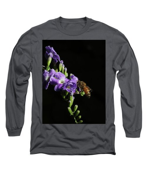 Long Sleeve T-Shirt featuring the photograph Honeybee On Golden Dewdrop by Richard Rizzo