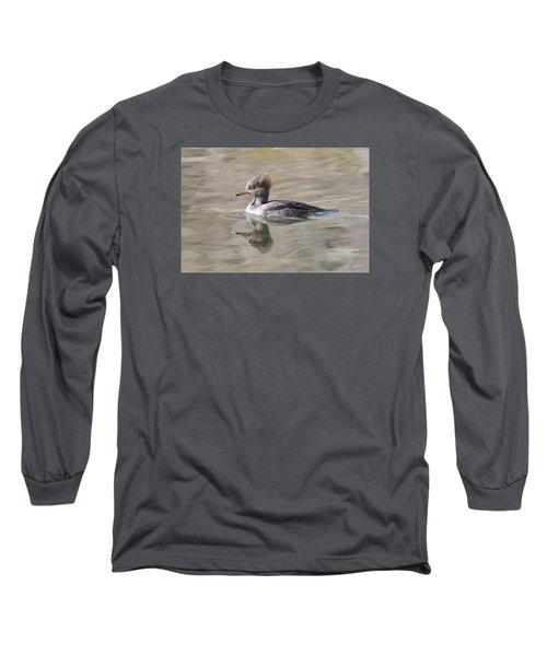 Hooded Merganser Female Long Sleeve T-Shirt by Alan Lenk