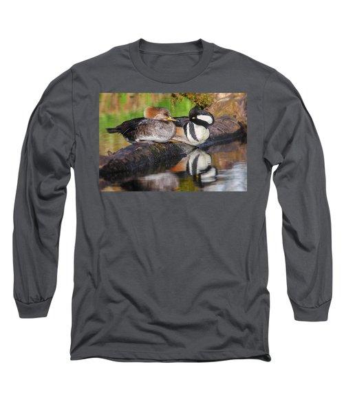 Hooded Merganser Pair Long Sleeve T-Shirt