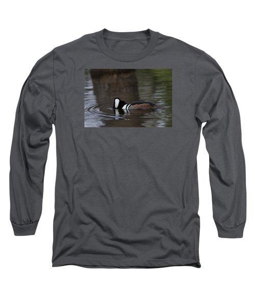 Hooded Merganser Preparing To Dive Long Sleeve T-Shirt