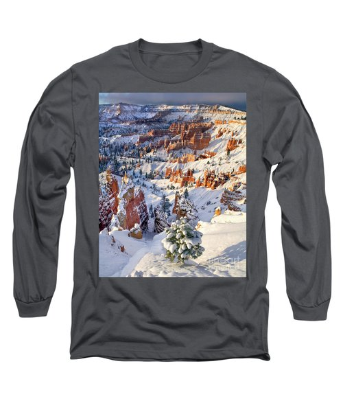 Long Sleeve T-Shirt featuring the photograph Hoodoos And Fir Tree In Winter Bryce Canyon Np Utah by Dave Welling