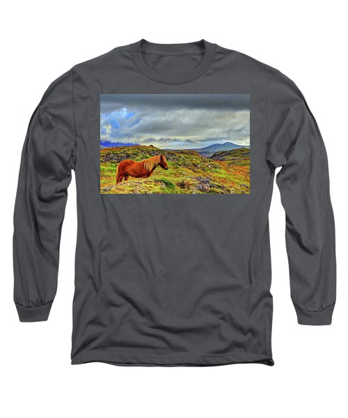 Long Sleeve T-Shirt featuring the photograph Horse And Mountains by Scott Mahon