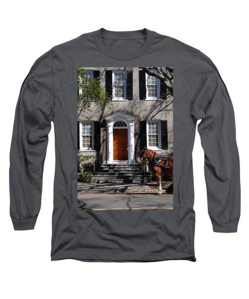 Horse Carriage In Charleston Long Sleeve T-Shirt by Susanne Van Hulst