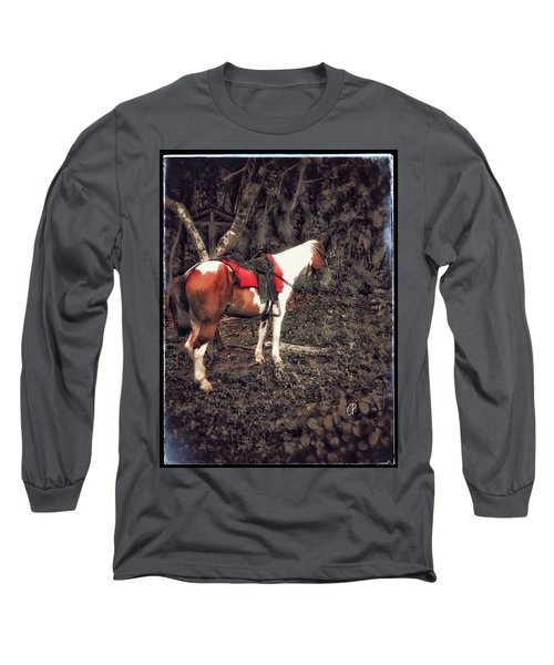 Horse In Red Long Sleeve T-Shirt