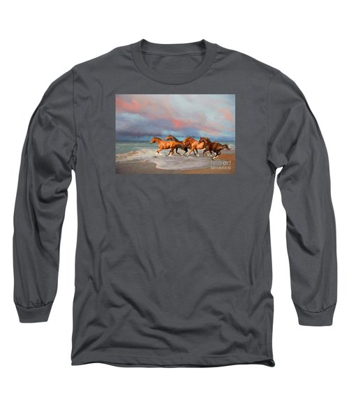 Horses At The Beach Long Sleeve T-Shirt by Mim White