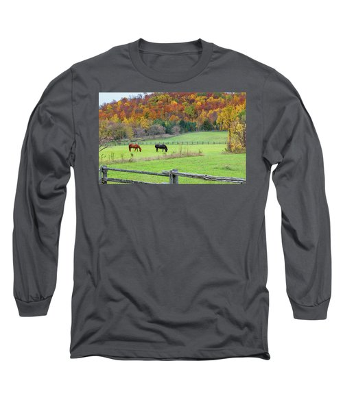 Horses Contentedly Grazing In Fall Pasture Long Sleeve T-Shirt