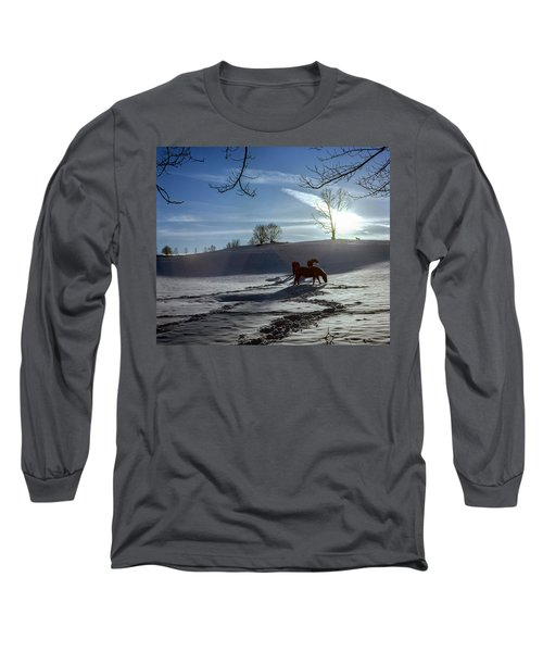 Horses In The Snow Long Sleeve T-Shirt by Greg Reed