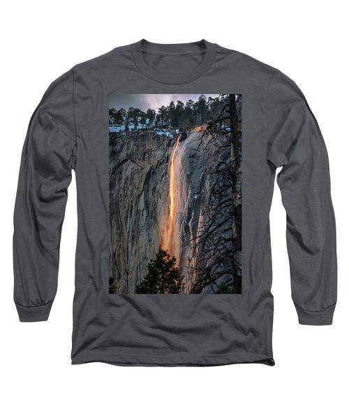 Horsetail Waterfall Glow 2017-2-24 Long Sleeve T-Shirt